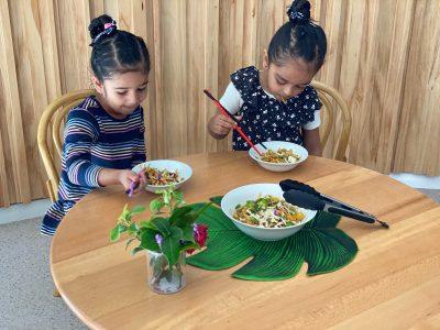 Colourful vegetable noodles that children love
